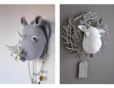 Rhino and Moose heads by Angeline