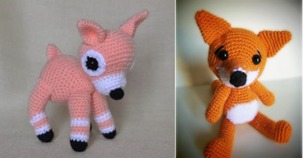 Fox and fawn made by Cecilia