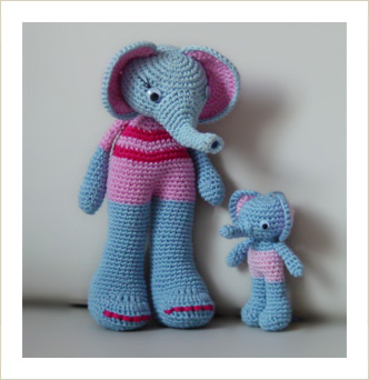 amigurumi elephant and baby